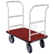 Glaro Bellman Hotel Truck 35x25 Satin Aluminum 2 Handle Burgundy Carpet, Rubber Wheels