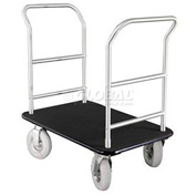 Glaro Bellman Hotel Truck 35x25 Satin Aluminum 2 Handle Black Carpet, Pneumatic Wheels