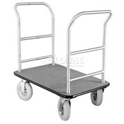 Glaro Bellman Hotel Truck 35x25 Satin Aluminum 2 Handle, Gray Carpet, Pneumatic Wheels