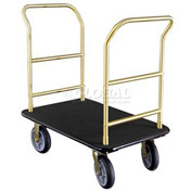 Glaro Bellman Hotel Truck 35x25 Satin Brass 2 Handle, Black Carpet, Rubber Wheels