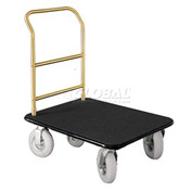 Glaro Bellman Hotel Truck 40x25 Satin Brass 1 Handle, Black Carpet, Pneumatic Wheels