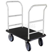 Glaro Bellman Hotel Truck 40x25 Satin Aluminum 2 Handle, Black Carpet, Rubber Wheels