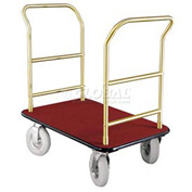 Glaro Bellman Hotel Truck 40x25 Satin Brass 2 Handle Burgundy Carpet, Pneumatic Wheels
