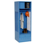 Pucel All Welded Gear Locker With Foot Locker Top Shelf Cabinet 24x24x72 Blue