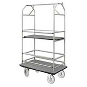 Glaro Bellman Condo Cart 40x25 Satin Aluminim Gray Carpet, 4 Pneumatic Wheels