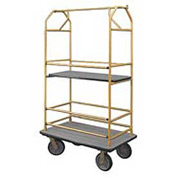 Glaro Bellman Condo Cart 40x25 Satin Brass Gray Carpet, 4 Rubber Wheels