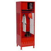 Pucel All Welded Gear Locker With Foot Locker Top Shelf Cabinet And Legs 24x24x72 Red