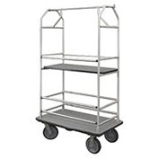 Glaro Bellman Condo Cart 48x25 Satin Aluminim Gray Carpet, 4 Rubber Wheels