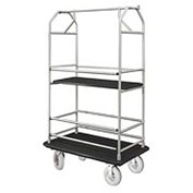 Glaro Bellman Condo Cart 48x25 Satin Aluminim Black Carpet, 4 Pneumatic Wheels