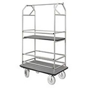 Glaro Bellman Condo Cart 48x25 Satin Aluminim Gray Carpet, 4 Pneumatic Wheels