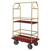 Glaro Bellman Condo Cart 48x25 Satin Brass Burgundy Carpet, 4 Rubber Wheels