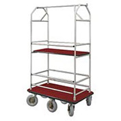 Glaro Bellman Condo Cart 48x25 Satin Aluminum Burdundy Carpet, 6 Pneumatic Wheels