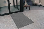 """Rubber Backed Barrier Rib Entrance Mat 3 Wide Up To 60ft 3/8"""" Thick Gray"""