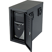 Orbit CPU Computer Enclosure Cabinet with Front/Rear Doors and Ventilation Fans - Black