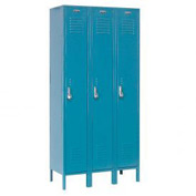 Extra Wide Single Tier Locker 15x18x72 3 Door Pull Latch Ready to Assemble Blue