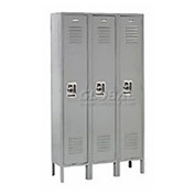 Extra Wide Single Tier Locker 15x18x72 3 Door Recessed Ready to Assemble Gray