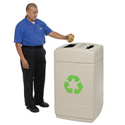 Recycling Plastic Trash Container with Mixed Recyclables/Trash Top