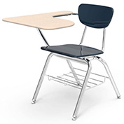 Virco® 3700br Martest Chair Desk - Curve Top, Navy Seat /Sandstone Top - Pkg Qty 2