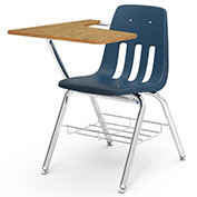 Virco® 9700br Classic Chair Desk- Med Oak Curve Top/Navy Seat/Chrome Frame - Pkg Qty 2