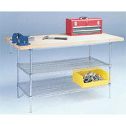 "72"" W x 30"" D Wire Stationary Workbench, Maple Butcher Block Square Edge"