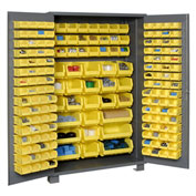 "Jamco Bin Cabinet GN248KC - 14 ga. Welded with 176 Bins Flush Door, 48""W x 24""D x 78""H"