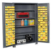 "Jamco Bin Cabinet GR248KGGP - 14 Gauge Welded with 128 Bins And Shelves Deep Door,48""W x 24""D x 78""H"