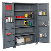 "Jamco Bin Cabinet GR248KRGP - 14 Gauge Welded with Louvered Panels And Shelves Deep Door, 48"" W"