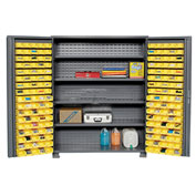"Jamco Bin Cabinet GR260KD - 14 Gauge Welded with 170 Bins And Shelves Deep Door, 60""Wx24""Dx78""H"