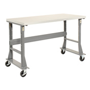 "60""W x 36""D Mobile Workbench - Plastic Laminate Square Edge - Gray"