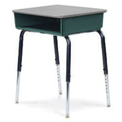 Virco® 785 Open Front Desk Gray Laminate Top/Forest Green Bookbox/Black Frm - Pkg Qty 2