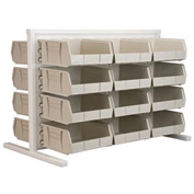 Akro-Mils Ready Space Double Sided Bench Rack 98536235SD With 24 Beige AkroBins 30235