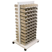 Akro-Mils Ready Space Mobile Floor Rack 30553220S With 120 Beige AkroBins 30220