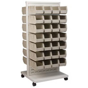 Akro-Mils Ready Space Mobile Floor Rack 30553230S With 60 Beige AkroBins 30230