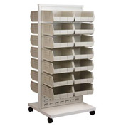 Akro-Mils Ready Space Mobile Floor Rack 30553235S With 30 Beige AkroBins 30235