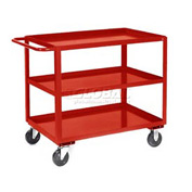 Jamco Red All Welded 3 Shelf Stock Cart SC248 48x24 1200 Lb. Cap.