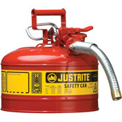 "Justrite® Type II Safety Can - 2-1/2 Gallon with 1"" Hose, 7225130"