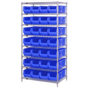 "Quantum WR8-950 Chrome wire Shelving With 28 24""D Hopper Bins Blue, 24x36x74"