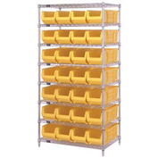 "Quantum WR8-950 Chrome wire Shelving With 28 24""D Hopper Bins Yellow, 24x36x74"