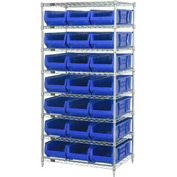 "Quantum WR8-952 Chrome wire Shelving With 21 24""D Hopper Bins Blue, 24x36x74"