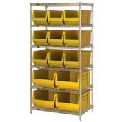 "Quantum WR6-973974 Chrome wire Shelving With 13 30""D Hopper Bins Yellow, 30x36x74"