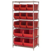 "Quantum WR6-973974 Chrome wire Shelving With 13 30""D Hopper Bins Red, 30x36x74"
