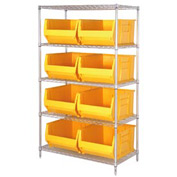 "Quantum WR5-975 Chrome wire Shelving With 8 30""D Hopper Bins Yellow, 30x42x74"