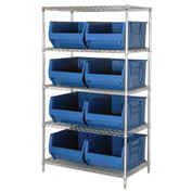 "Quantum WR5-993 Chrome Wire Shelving With 8 36""D Hopper Bins Blue, 36x36x86"