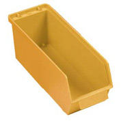 "Quantum Plastic Stack And Lock Bin QCS35 with ID Tab 4-5/8""W x 14""D x 4-7/8""H Yellow - Pkg Qty 12"