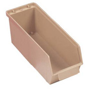 "Quantum Plastic Stack And Lock Bin QCS35 with ID Tab 4-5/8""W x 14""D x 4-7/8""H Ivory - Pkg Qty 12"