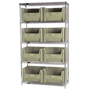 Quantum WR5-700 Chrome Wire Shelving With 8 Giant Hopper Bins Ivory, 18x42x74