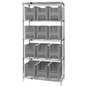 Quantum WR5-600 Chrome Wire Shelving With 12 Giant Hopper Bins Gray, 18x36x74