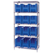 Quantum WR5-600 Chrome Wire Shelving With 12 Giant Hopper Bins Blue, 18x36x74