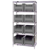 Quantum WR5-800 Chrome Wire Shelving With 8 Giant Hopper Bins Gray, 18x36x74