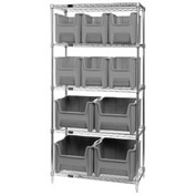 Quantum WR5-600800 Chrome Wire Shelving With 10 Giant Hopper Bins Gray, 18x36x74